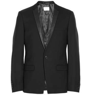 Slim Leather-Trimmed Wool-Twill Tuxedo