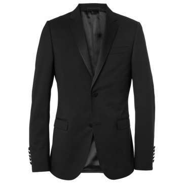 Two button Black Slim Wool Tuxedo