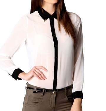 White Black Blouse