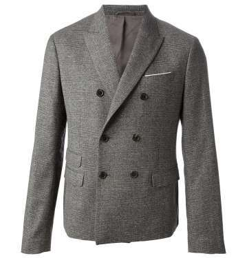Double Breasted Grey Check Suit