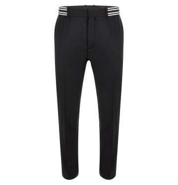 Black Stripe Band Wool Flannel Trouser