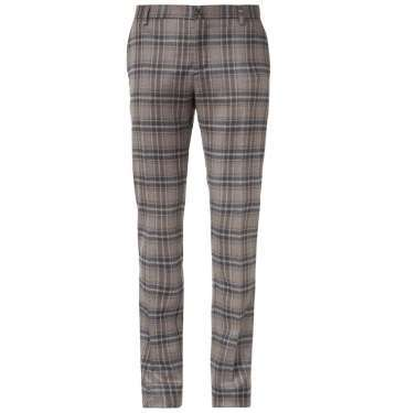 Plaid Wool and Silk-Blend Trouser