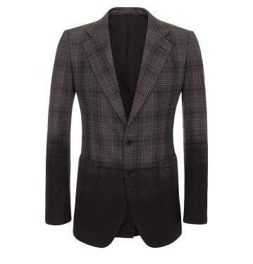 Black Degrade Check Wool Jacket