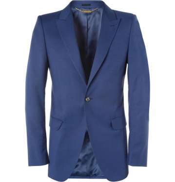 Blue Slim-Fit Wool and Mohair-Blend Jacket