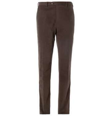 Leather-Trimmed Brushed-Cotton Trouser