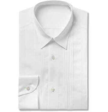 White Bib-Front Cotton and Linen-Blend Shirt