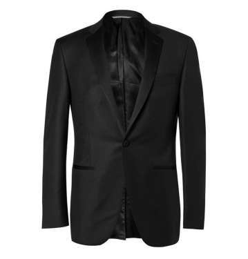 Black Slim-Fit Jacquard Wool Tuxedo