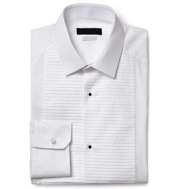 White Gold-Fit Cotton Tuxedo Shirt