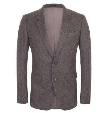 Brown Chevron Wool 2-Button Jacket