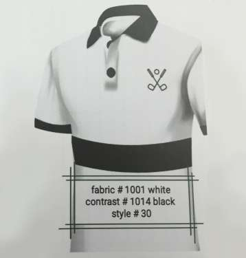 Fabric 1001 White Contrast 1014 Black Style 30