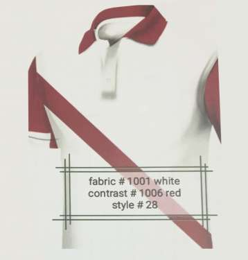 Fabric 1001 White Contrast 1006 Red Style 28